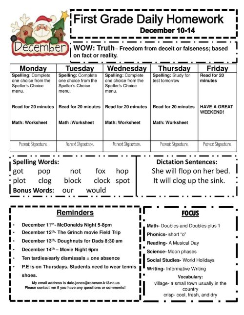 small resolution of First Grade Daily Homework December ppt download