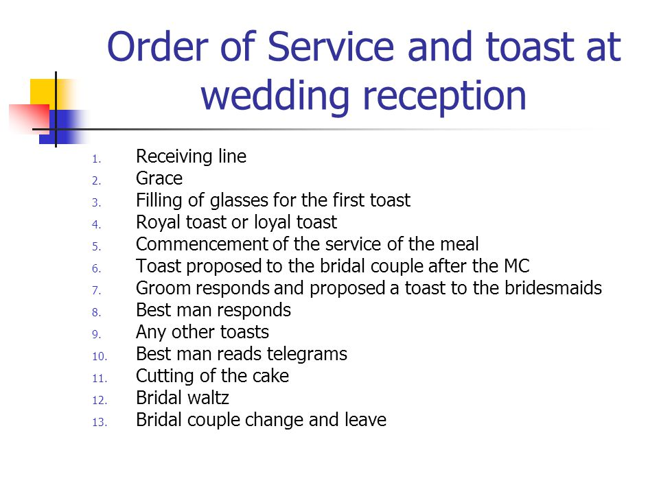 Order Of Wedding Toasts Etiquette  Unique Wedding Ideas