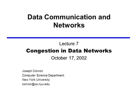 Transport Layer3-1 Data Communication and Networks Lecture