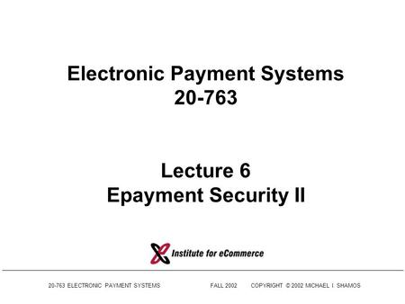 Introduction to Information Security Lecture 4: Public Key