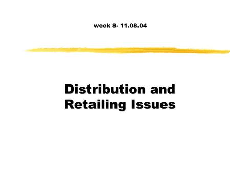 Distribution Concepts. Marketing Channels Marketing