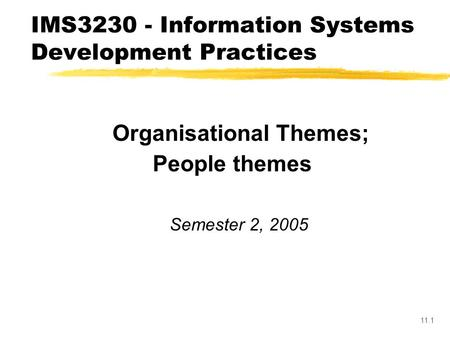 11.1 Organisational Themes; Organisational Culture and