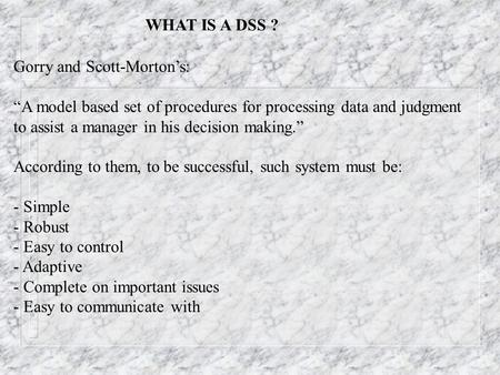 Business Intelligence Systems (Decision Support Systems