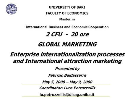 International and Global Marketing (IGM) Unit Code