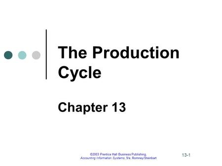 The Production Cycle Chapter ppt download