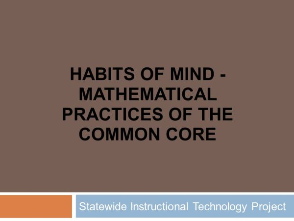 Habits Of Mind - Mathematical Practices Common Core