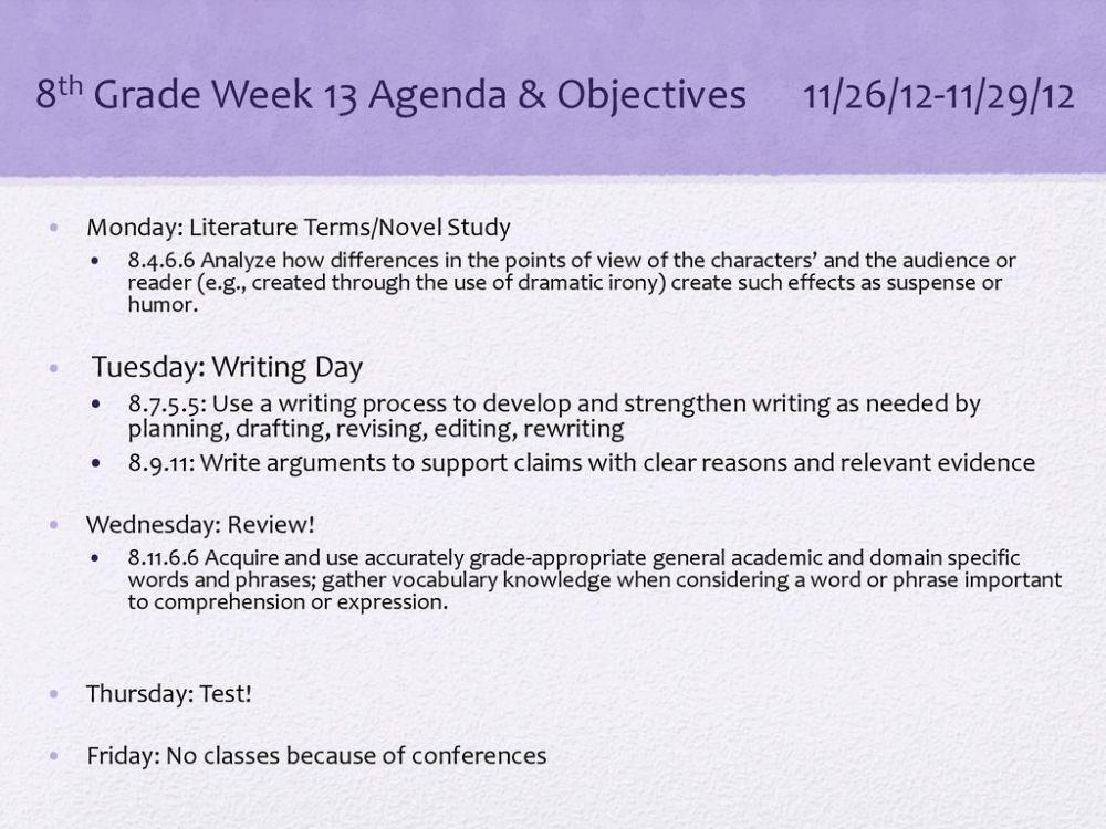 medium resolution of 8th Grade Week 13 Agenda \u0026 Objectives 11/26/12-11/29/12 - ppt download