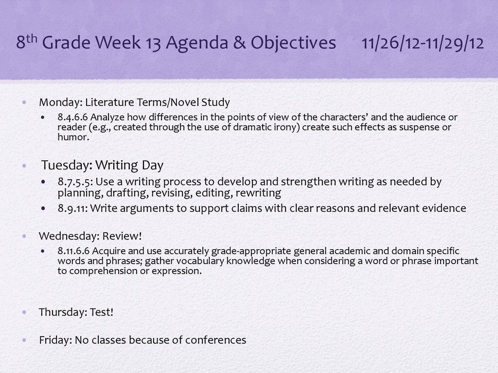 hight resolution of 8th Grade Week 13 Agenda \u0026 Objectives 11/26/12-11/29/12 - ppt download