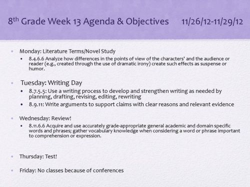 small resolution of 8th Grade Week 13 Agenda \u0026 Objectives 11/26/12-11/29/12 - ppt download