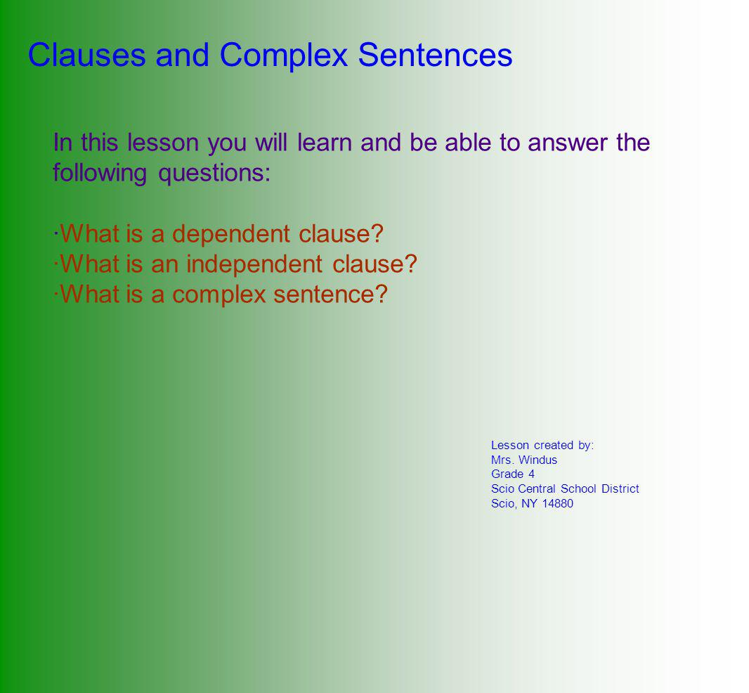 hight resolution of Clauses and Complex Sentences - ppt download
