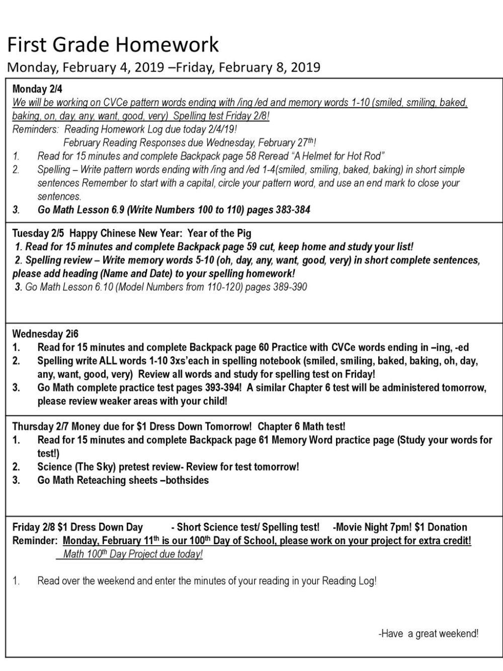 medium resolution of First Grade Homework Monday