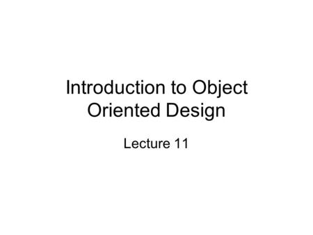 Object-Oriented Design Simple Program Design Third Edition