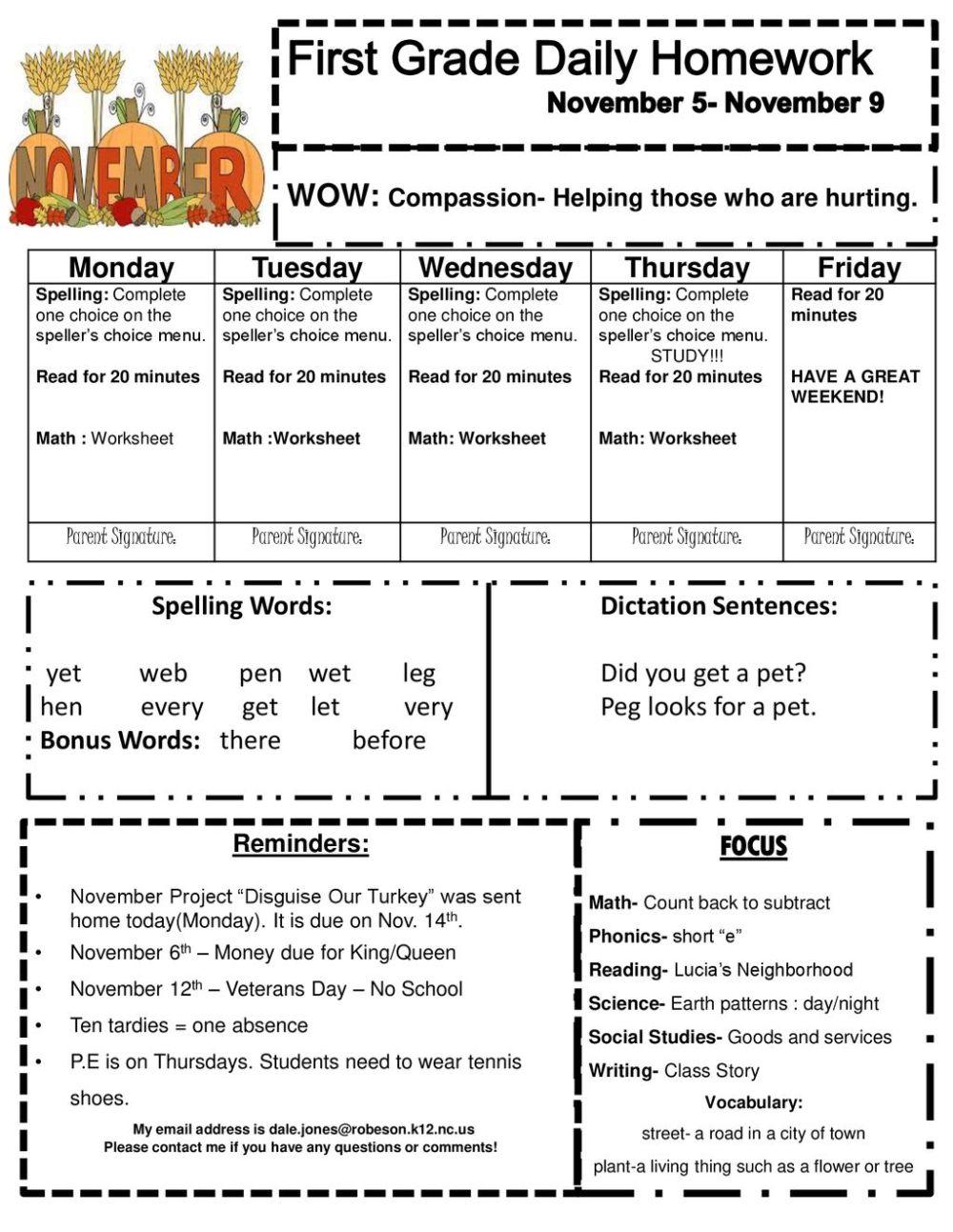 medium resolution of First Grade Daily Homework November 5- November 9 - ppt download
