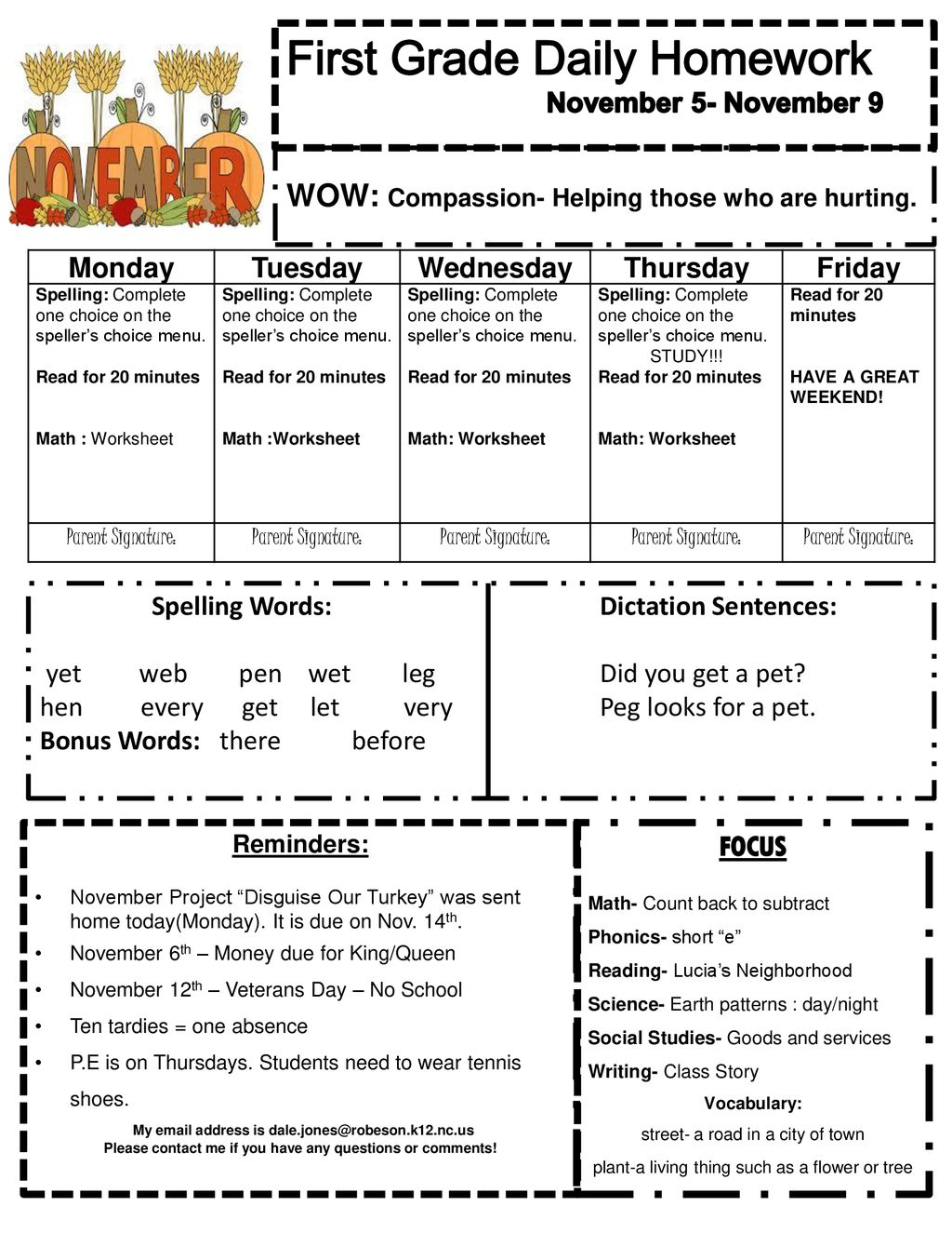 hight resolution of First Grade Daily Homework November 5- November 9 - ppt download