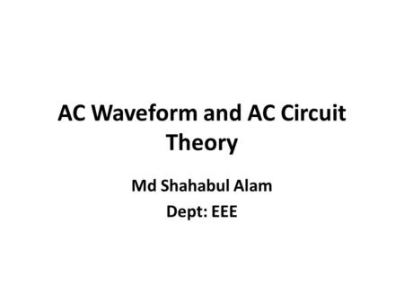 Electrical Agents Chapter 5. Direct Currents Characterized