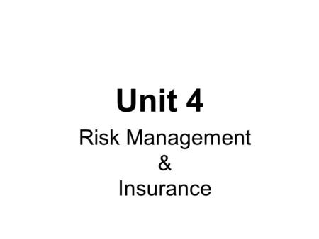 BASICS OF RISK Agenda Meaning of Risk Chance of Loss Peril