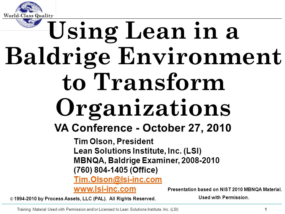 Using Lean in a Baldrige Environment to Transform