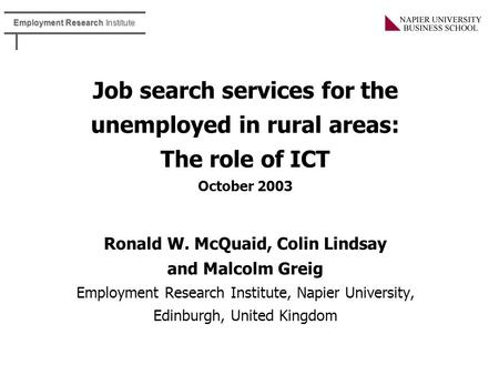 ICT and Job Vacancy, Training and Transport Information