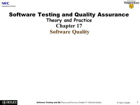 Software Testing and QA Theory and Practice (Chapter 16