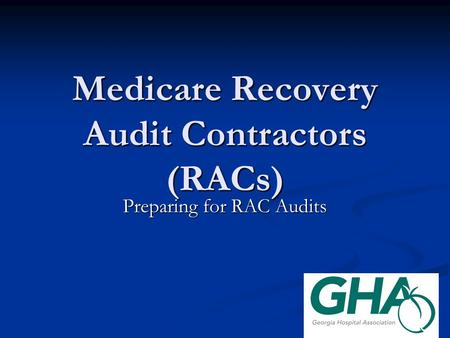 Medicare Recovery Audit Contractor Cover Letter