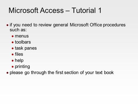 1 Access Lesson 3 Creating Queries Microsoft Office 2010
