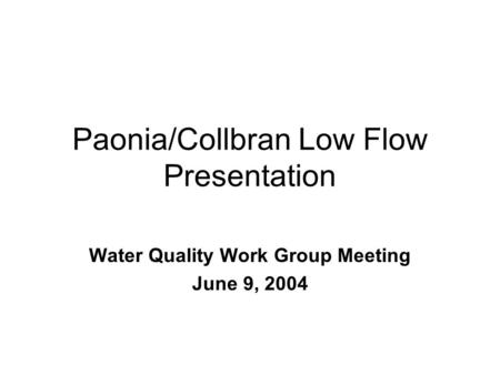 Design Flow Analysis Project Phase One:Low-Flow Analysis