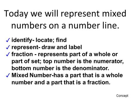 Today we will identify fractions on a number line