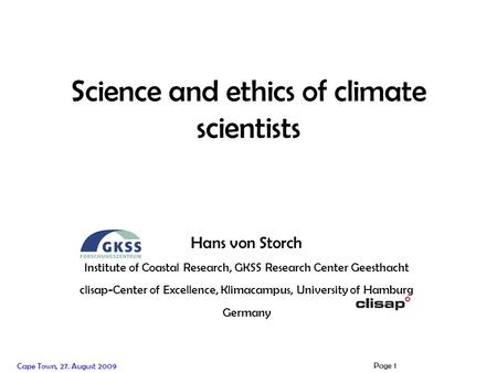 Hans von Storch Institute of Coastal Research, Helmholtz