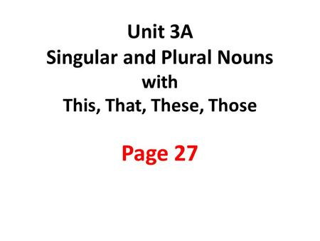Singular and Plural Nouns and Articles. Noun = 명사 A noun
