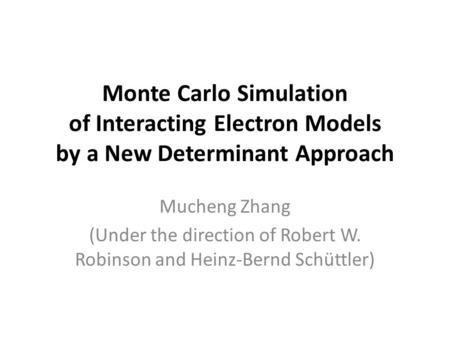 MCSL Monte Carlo simulation language Diego Garcia Eita