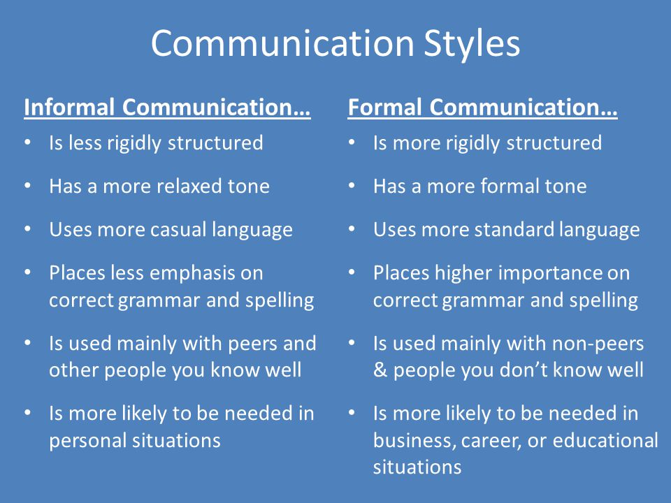Transitioning Between Informal And Formal Communication