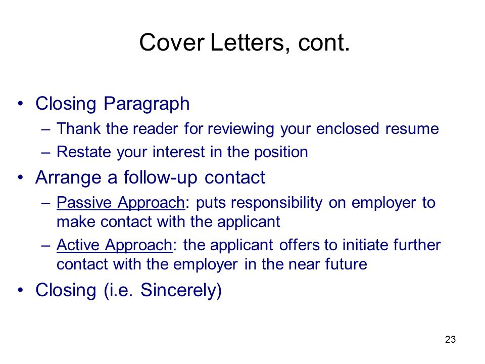 Cover letter finishing paragraph