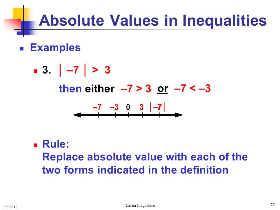 Solving Linear Inequalities Solving Linear Inequalities