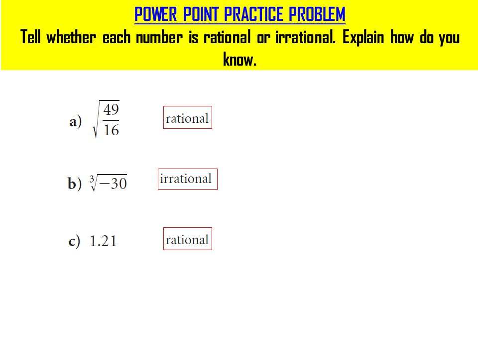 Rational Numbers Irrational Numbers Ppt Video Online