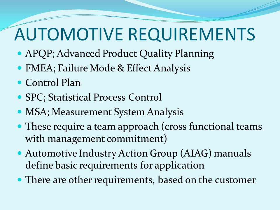 AUTOMOTIVE CORE TOOLS; SPC MSA FMEA APQP CONTROL PLAN