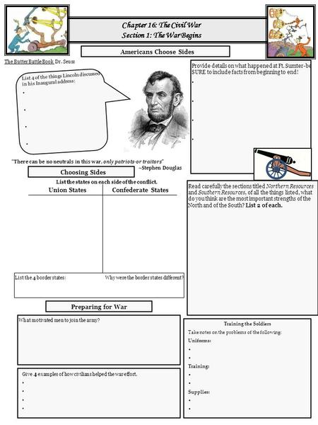 Chapter 17 The Civil War Test Review. What Do I Need To