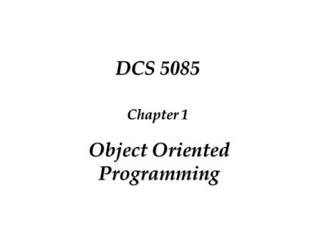 1 Introduction to Object Oriented Design. 2 Overview