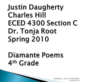 Diamante Poetry Whitney Jones ShaneQua York ECED 4300 A Dr