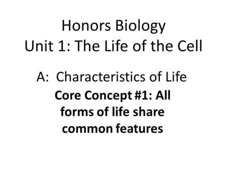 CP Biology Unit 1: The Nature of Life Chapter 1