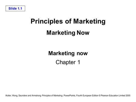 Chapter 1 Marketing: Managing Profitable Customer