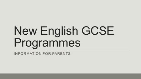 GCSE English Language GCSE English Literature All students