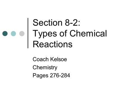 Types of Chemical Reactions SCH3U. Success Criteria O By