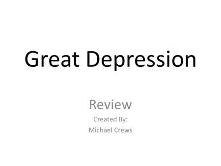 Causes of the Great Depression The 1920s were a decade of