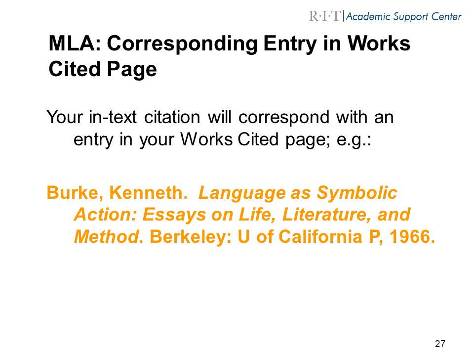 work cite page mla