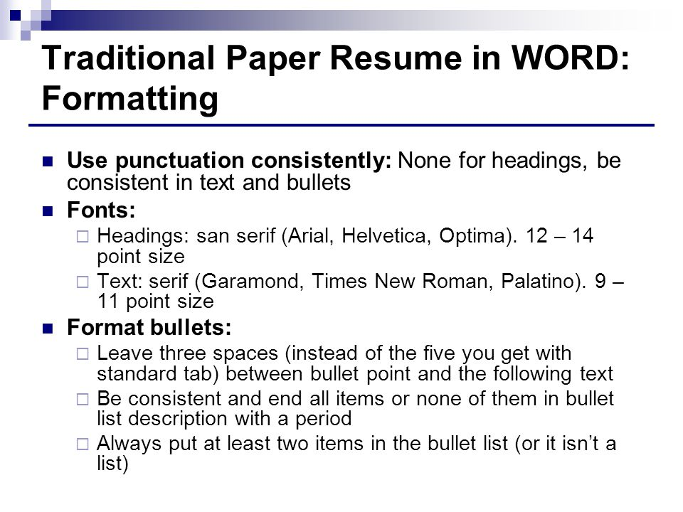 bullet style resume