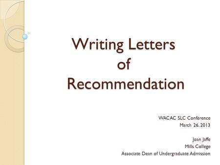 Sample Recommendation Letter For Graduate School From