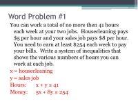 One Variable Linear Inequalities Word Problems Worksheet ...
