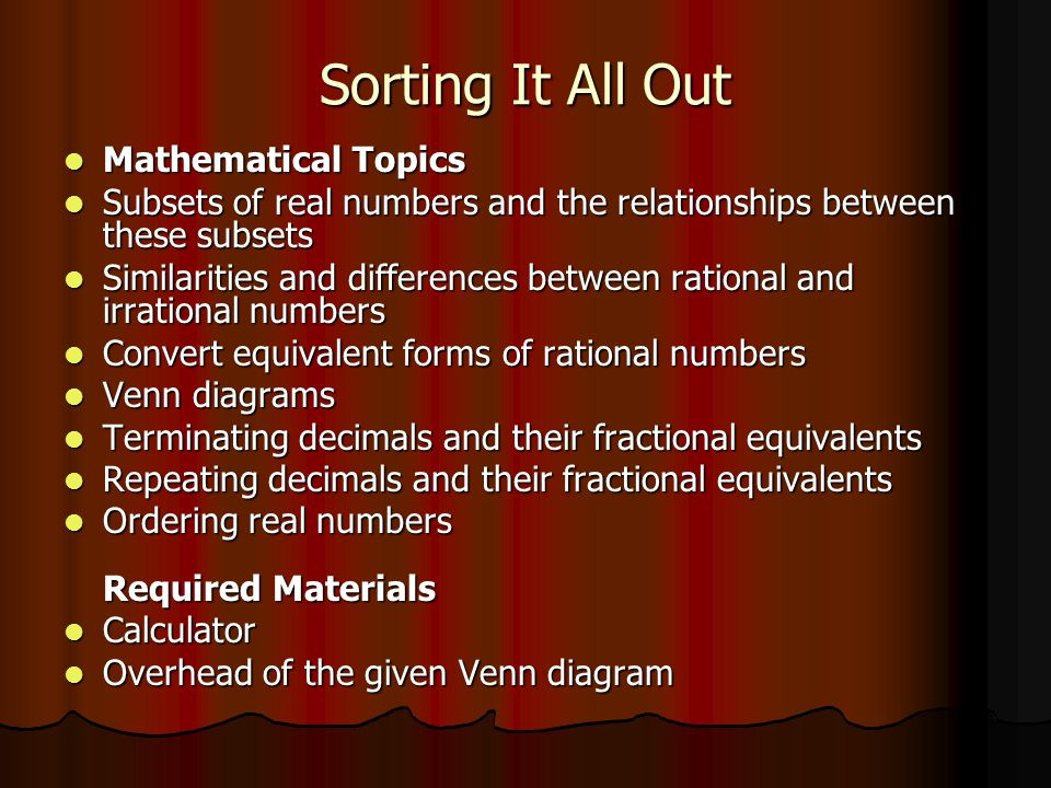 number venn diagram sorting numbers 1998 ford f150 wiring it all out mathematical topics - ppt video online download