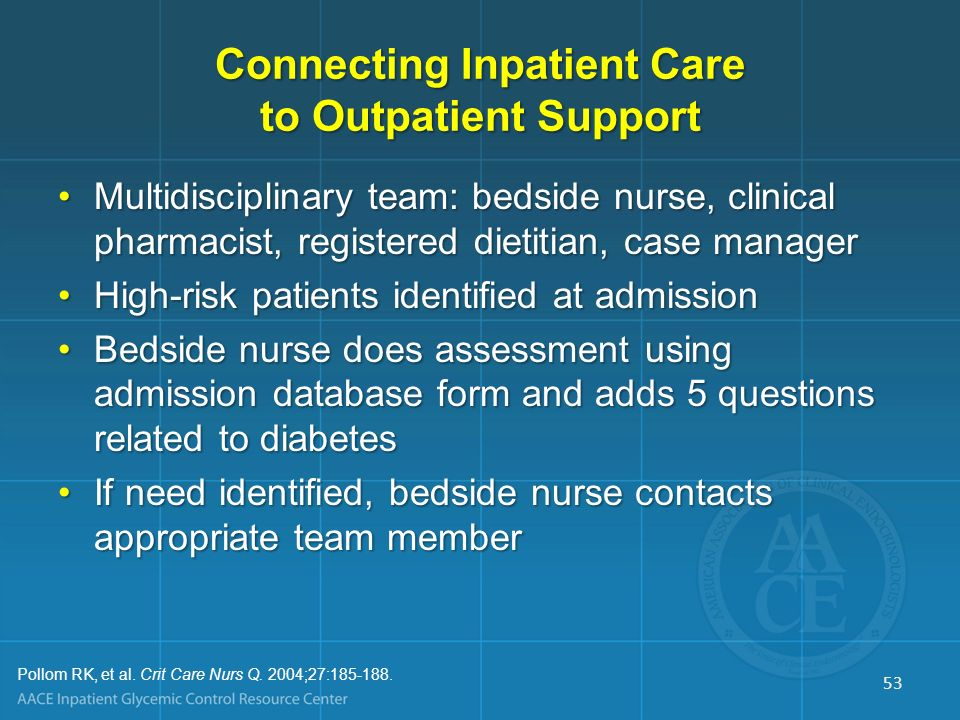Role of Nursing in the Continuum of Inpatient Diabetes