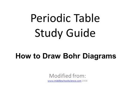 Using the Periodic Table to Draw Atoms Using the Periodic